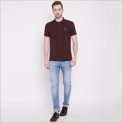 Mens Dark Maroon Color Polo-T-Shirt