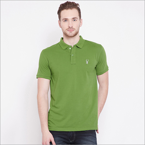 Mens Green Color Polo-T-Shirt