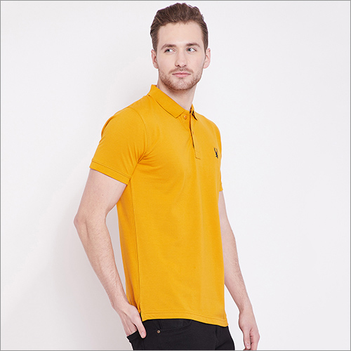 Mens Orange Color Polo T Shirt