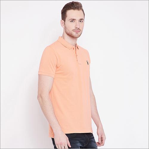 Mens Peach Color Polo T-Shirt