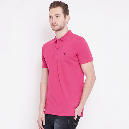 Mens Solid Color Polo T-Shirt
