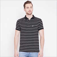 Mens Black Stripe Polo T Shirt