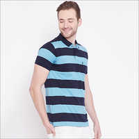 Mens Blue Color Stripe Polo T-Shirt