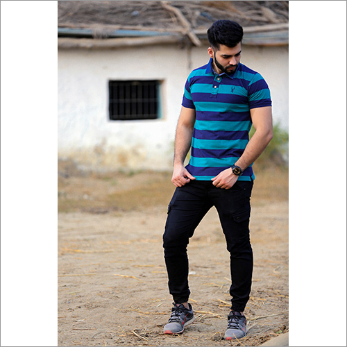 Mens Striped Collar Polo T Shirt