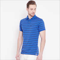 Mens Dark Blue Color Stripe T Shirt