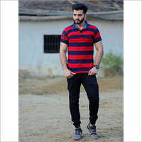 Mens Half Sleeve Striped Polo T Shirt