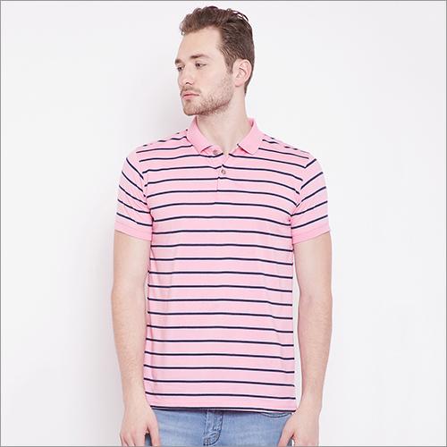 Mens Light Pink Color Stripe Polo T-Shirt