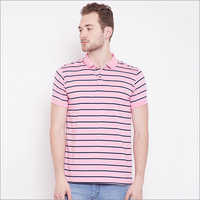 Mens Light Pink Color Stripe Polo T-Shirt