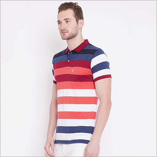 Mens Striped Casual Polo T-Shirt
