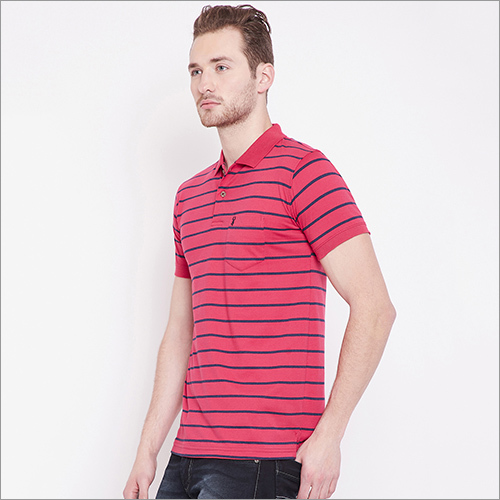Mens Striped Designer Polo T-Shirt