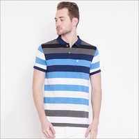 Mens Stylish Striped Polo T-Shirt