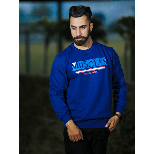Mens Blue Color Round Neck Sweatshirt