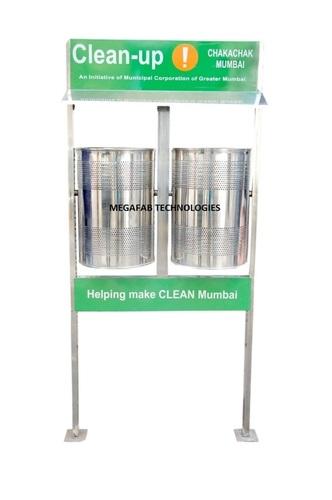 Dual Pole Mounted Litter Bin