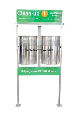 Dual Pole Mounted Litter Bin with Roof