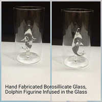 Hand Fabricated Borosilicate Glass, Dolphine Figurine Infused in the Glass