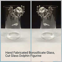 Hand Fabricated Borosilicate Glass,Cut Glass Dolphine Figurine