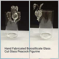 Hand Fabricated Borosilicate Glass,Cut Glass Peacock Figurine