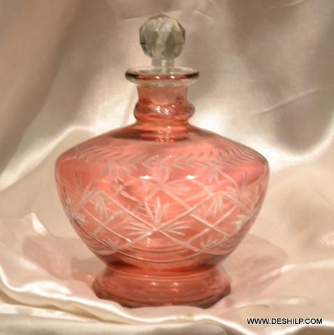 Matki Shape Cut Glass Perfume Decanters
