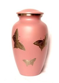 Butterfly in Pink Metal Cremation Urn