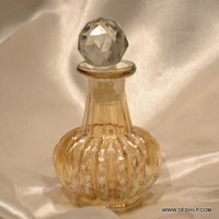 Small Glass Yellow Color Perfume Bottle With Stopper