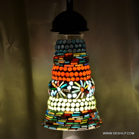 Long Pipe Shape Glass Wall Hanging With Mosaic Finish