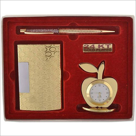 Golden Apple Clock With Card Holder & Pen