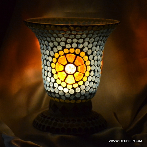 Sky Blue Mosaic With Yellow Flower Design Table Lamp