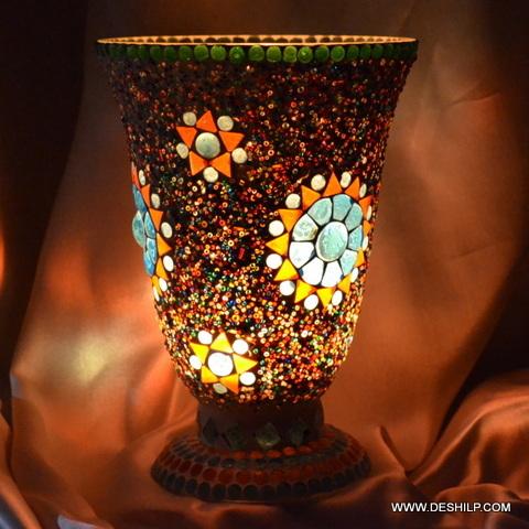 Brown Mosaic Effect Glass Hurricane