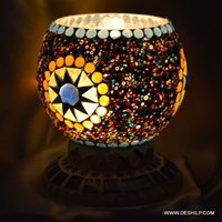 Small Glass Mosaic Candle Holder