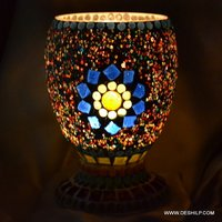 CANDLE HOLDER WITH DECOR MOSAIC FINISH
