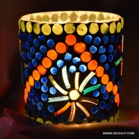 BLUE MOSAIC T LIGHT CANDLE HOLDER
