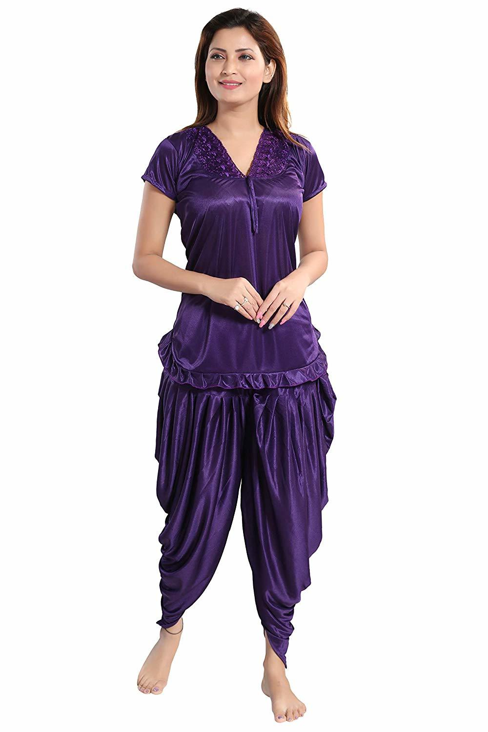 satin patiala night suit