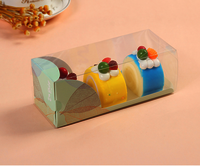 Food grade PET Clear Plastic Cupcake Box with card insert