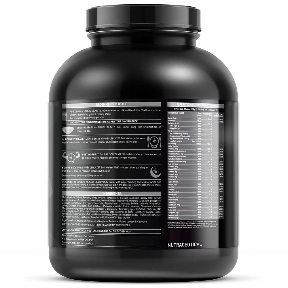 MuscleBlaze Bulk Gainer with Creatine, 6.6 lb (3kg)Chocolate