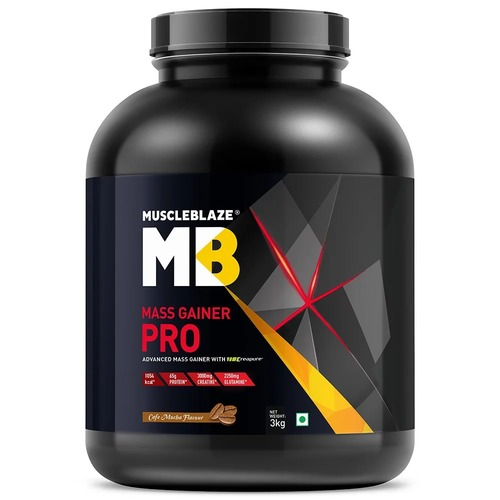 MuscleBlaze Mass Gainer PRO with Creapure, 6.6 lb(3kg) Cafe Mocha