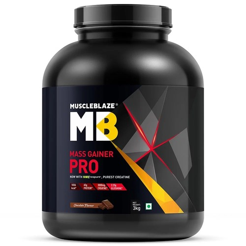 MuscleBlaze Mass Gainer PRO with Creapure, 6.6 lb(3kg) Chocolate