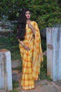 Ladies Linen Cotton Saree
