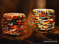 KULLLAD SHAPE GLASS MOSAIC CANDLE HOLDER