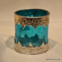 Sky Blue Glass Metal Glass Candle Holder