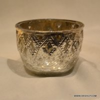 Bowl Shape Silver Glass Votive