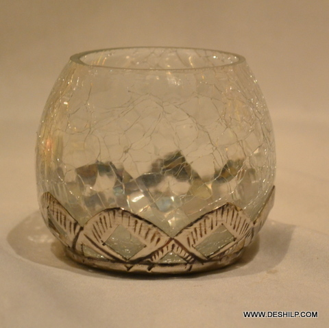 Creak Glass Clear Votive With Metal Fitting