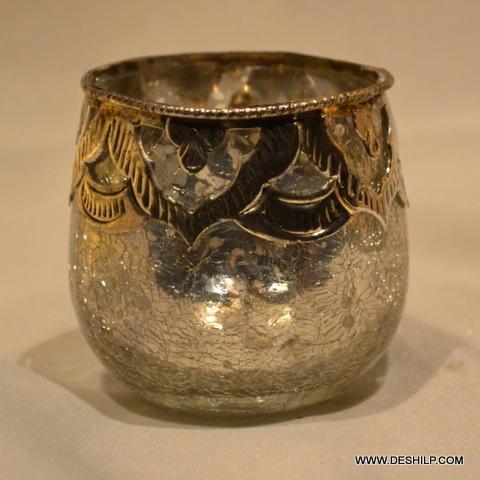 Silver Glass Metal Fit T Light Votive
