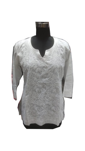 Ladies Handmade Cotton Lucknowi Kurti