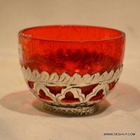 Red Glass Small T Light Candle Holder