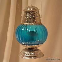 Metal Fitting Color Glass T-light Candle Hanging