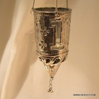 Full Metal With Glass T Light Candle Hanging