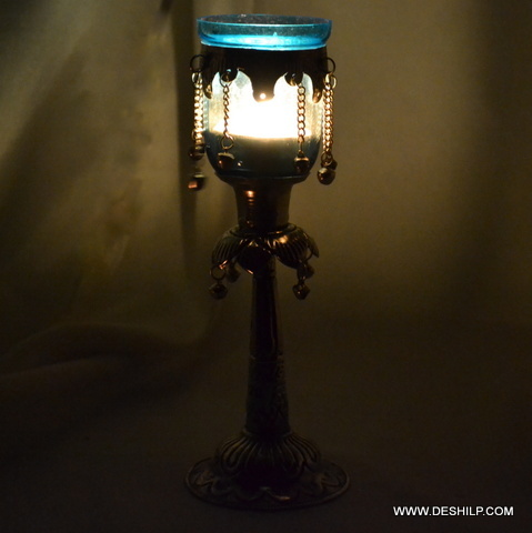 Silver Glass Pillar Candle Holder