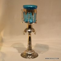 Silver Glass Pillar Candle Holder