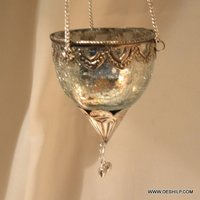 Silver Glass T Light Hanging Candle Holder