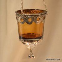 T Light Hanging Candle Holder With Metal Fitting